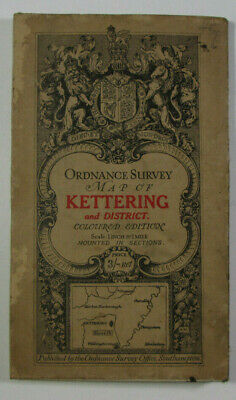 1913 Old Antique OS Ordnance Survey One-Inch Third Edition Map 74 Kettering