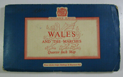 1959 Old OS Ordnance Survey Quarter-Inch Tourist Map Wales & The Marches - CLOTH