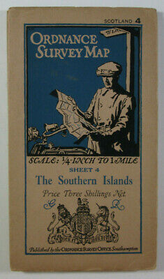 1923 Old OS Ordnance Survey Quarter-Inch Third Edition Map 4 Southern Islands