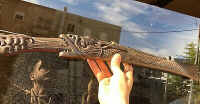 Rare Antique Chinese Sword Dagger Carved Wood Dragon Fish Spits Fire