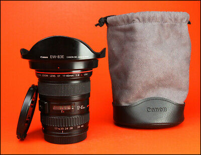 Canon EF 17-40mm F4 L USM Wide Angle Zoom Lens , Front & Rear Caps, Hood, & Bag