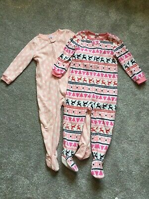 GAP pink girls 2-3 winter Christmas sleepsuits pyjamas fleece bundle feet