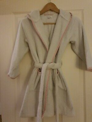 Harrods Girls Dressing Gown Robe Age 6 White Pink Gingham Trim
