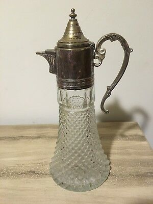 Vintage Pressed Glass Silverplate Water Claret Pitcher Crystal Decanter