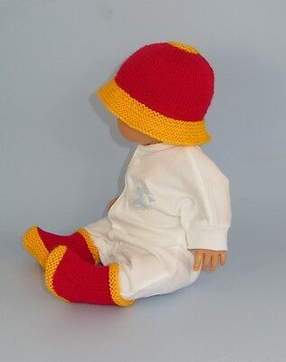 Printed Instructions - Baby Hat And Booties (Bootees, Boots) Knitting Pattern
