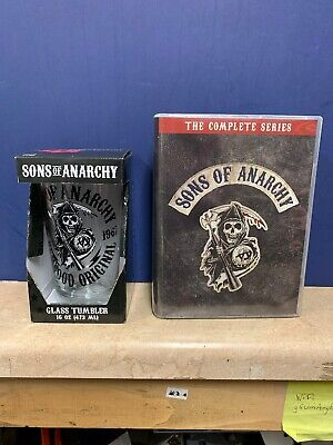 Sons of Anarchy the complete series 30 DVD set with beer glass 16 ounce