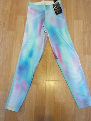 NIKE girls PRO tights size L AGE 12-13 YRS printed BLUE PINK unicorn bnwt