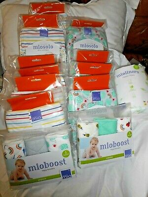 Bambino Miosolo Cloth Reusable Nappy 10 Nappies Bundle (New) Boosters, Liners