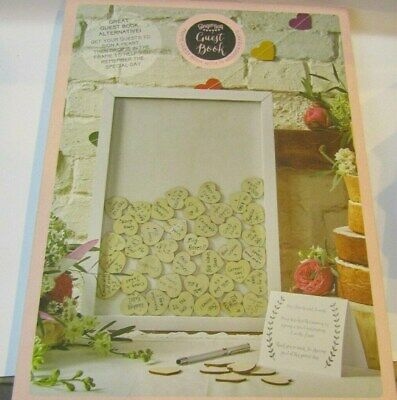 (RO) Frame wedding guest book with 70 wooden hearts