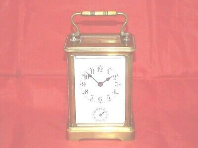 Antique French 8 Day Alarm Carriage Clock With Platform Escapement In Brass Case