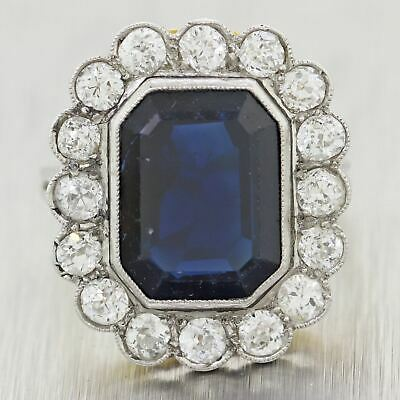 1930s Antique Art Deco Platinum & 18k Yellow Gold 6.5ctw Sapphire & Diamond Ring