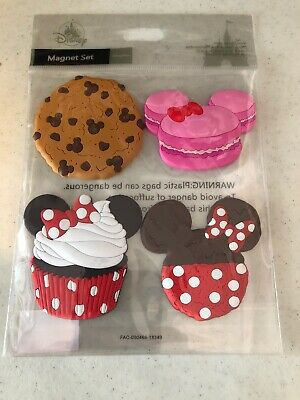 Disney Parks Dessert Mickey Minnie Mouse Cupcake Cookie Cake  Magnet Set PVC