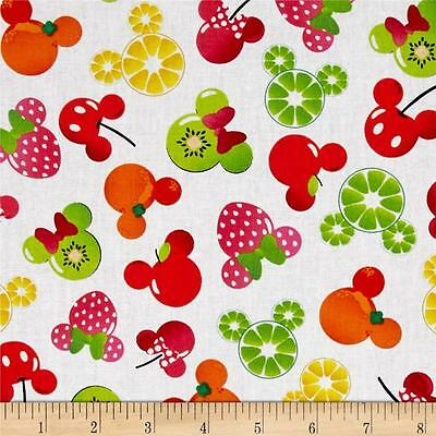 Disney Mickey & Minnie Fruits Head Icon Premium 100% Cotton Fabric by the yard