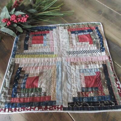 Primitive Log Cabin Antique c1880 Doll or Table QUILT 17x17