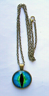 """PBQ1 - BLUE EYE PENDANT, Bronze Alloy Glass Domed PENDANT with 18"""" chain"""