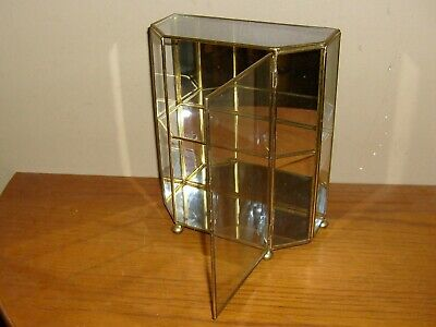 Vintage BRASS and MIRRORED Table Top CURIO Cabinet Display CASE