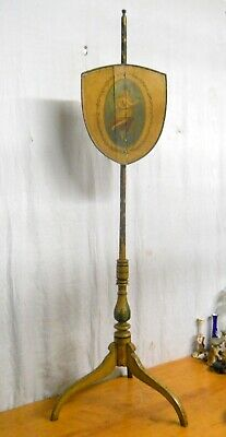 Antique 19th C. Period Painted Pole Screen English Possibly American Needs TLC