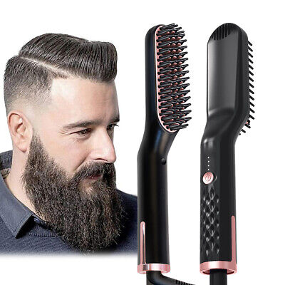 3 in 1 Quick Beard Straightener Multifunctional Hair Comb Curling Curler Heated