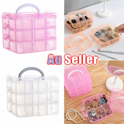 Jewelry Bead Storage Organizer Box Plastic Craft Container Clear Case Practical