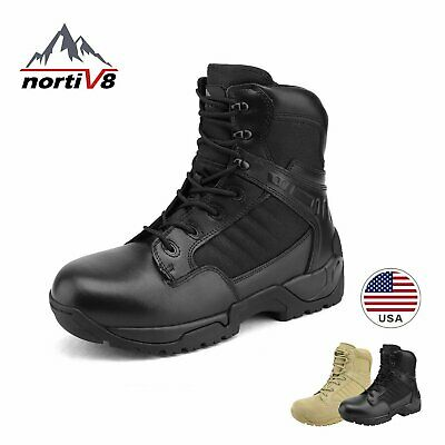 NORTIV 8 Mens Military Tactical Work Boots Side Zipper Ankle Hiking Combat Boots
