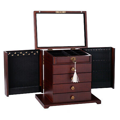 Extra Large Wooden Jewellery Box Rings Storage Cabinet Mirror Display Organiser