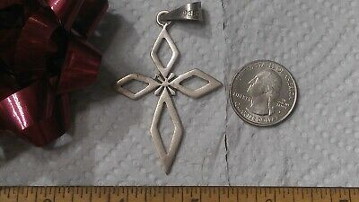 Taxco Mexican Sterling Silver Stylized Cross Crucifix Pendant Signed TS-110