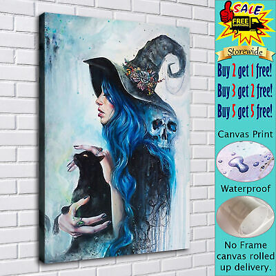 """16""""x22""""Witch and Cat Halloween HD Canvas prints Painting Home Decor Picture art"""