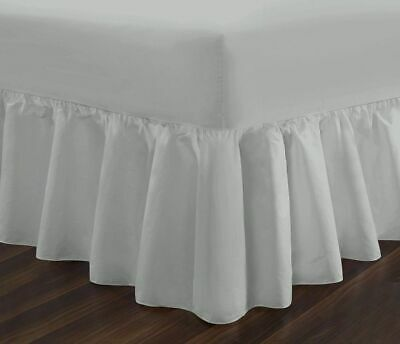 Poly Cotton Fitted Valance Sheet King Size Silver Frilled Valance Sheet Kingsize