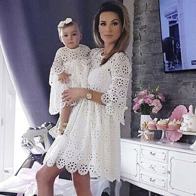 Mom&Me Baby Mother Women Girl Lace Match Family Dress Clothes Crochet Tutu Dress