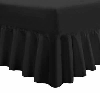 Superking Valance Sheets Black Poly Cotton Super King Size Fitted Valance Sheets