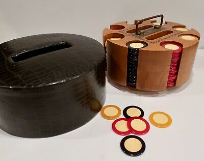 200 Two Tone Bakelite / Catalin Poker Chip (Injection Dot Mold) Rotating Caddy
