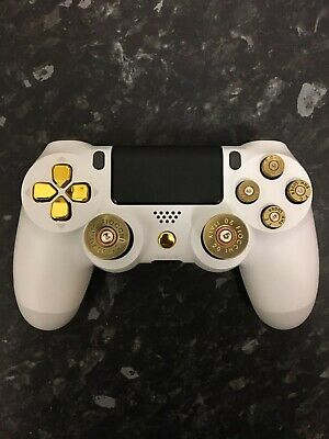 NEW Custom White Gold Bullet Sony PS4 PlayStation Official Dualshock Controller