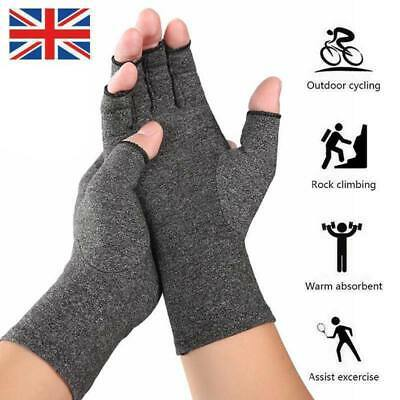 Anti Arthritis Compression Fingerless Gloves Finger Brace Support Pain Relief UK