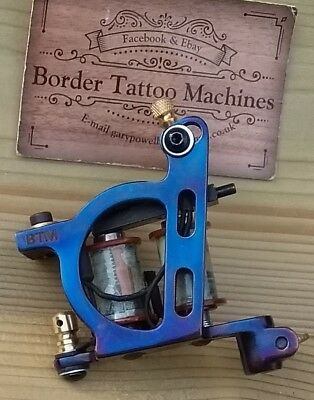Border Tattoo Machine, Liner Custom Iron Blued Frame Custom 8 Layer 32Mm Coils