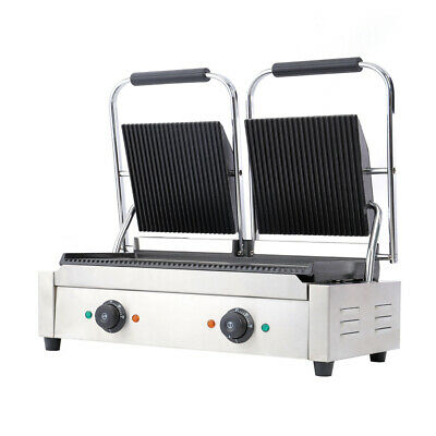 Grooved Panini Press Ribbed Toaster Sandwich Contact Grill Catering Machine New