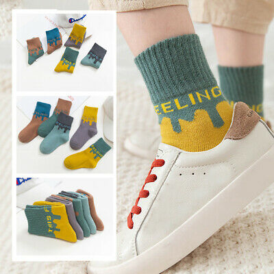 5 Pairs Baby Boy Girl Stripe Letter Warm Thick Middle Tube Cotton Socks All