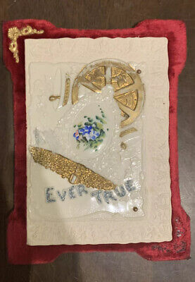 ' Ever True' New Year Card With Celluloid Image Attached To Red Velvet Backing