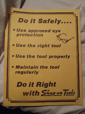 Vintage 1979 Snap On Tools Safety Poster , Rare & Hard to Find ,