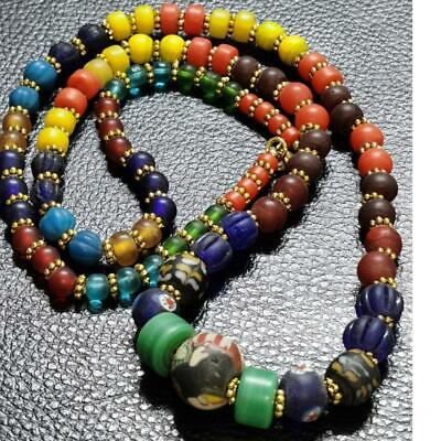 Old wonderful unique mix glass beads Lovely charming Necklace # 66