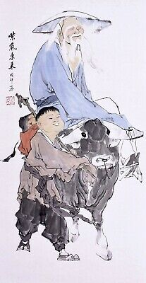 100% ORIGINAL ASIAN FINE ART CHINESE FAMOUS WATERCOLOR PAINTING-Dharma&Cowboy