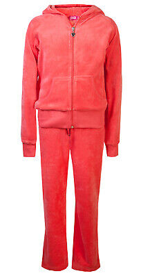 Love Lola Childrens Girls Velour Tracksuit Coral Age 5/6