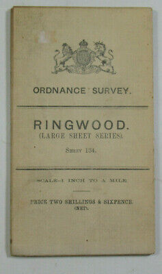 1903 Old OS Ordnance Survey Third Edition One-Inch Map Large Sheet 134 Ringwod