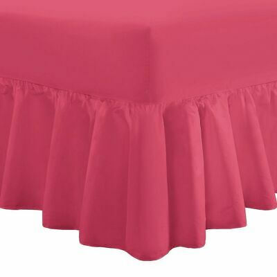 Superking Bed Poly Cotton Frilled Base Fuchsia Super King Size Valance Sheets