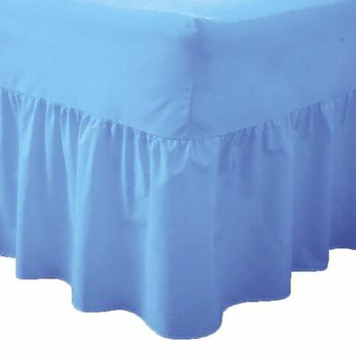 Mid Blue Super King Valance Sheet Polycotton Fitted Bed Sheet Valance Superking