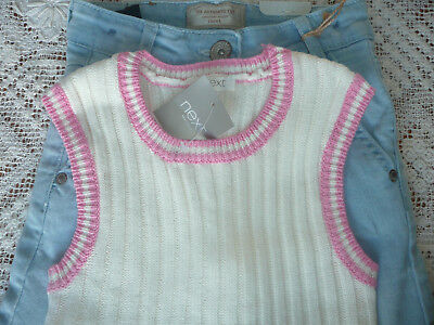 BNWT Next Girls Wide Leg Demin Culottes/ Jeans & Cream Knit Tank Top Set/ Age 8