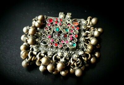 Antique Traditional Bedouin White Metal Pendant With Jewels & Dangles
