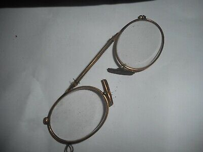 Vintage Gold Wire Rim Glasses Lorgnette Spectacles with Case see other old