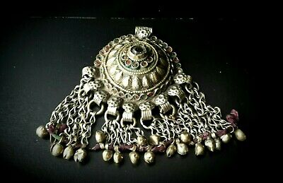 Antique Traditional Very Large Bedouin White Metal Chain Fringe Amulet Pendant