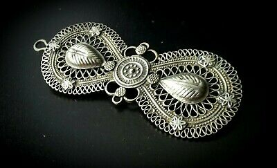 Antique Traditional Bedouin Filigree And Flower & Leaf Silver Metal Hair Slide