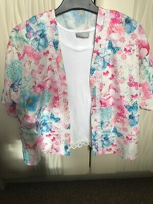 Matalan Girls 2 Piece Cream  Vest Top And Floral Over Top Age 8 Years